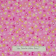 Valentine's Day Fabric - Yellow Pink White Hearts - Marcus Brothers Cotton YARD