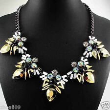 New Design huge Lady Statement crystal multi chunky chain charm  necklace 852