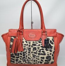 Coach Legacy Ocelot Medium Candice Satchel Carryall Tote Bag In Red 19989