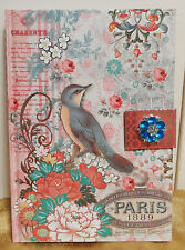 Parisian Punch Studio Blue Bird Large 8.5 X 6 HardBack Jeweled JOURNAL Notebook