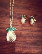 N756 Betsey Johnson Tutti Frutti Mixed Fruit Pineapple Necklace No* Earrings US