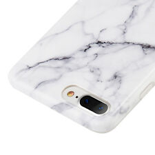 for iPhone 7+ Plus - Hard TPU Gummy Rubber Slim Case Cover White Marble Pattern
