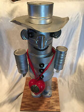 """Vintage Wizard Of Oz Tin Man Folk Art Robot Of Tin Cans 25"""" Tall Handcrafted"""