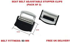 SILVER VOLKSWAGEN SEAT ADJUSTABLE SAFETY BELT STOPPER CLIP CAR TRAVEL 2PCS