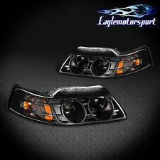 1999 2000 2001 2002 2004 Ford Mustang Black Projector Headlights Head Lamps Pair