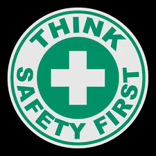 Think Safety First Small Round Reflective Emergency Firefighter Decal Sticker