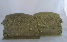 Antique Brass Marshall Field Bookends Rococo Scroll Drape&Swag Horns Garland