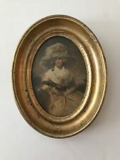 Antique Lemon Gold Gilt Oval Framed VICTORIAN PICTURE Woman Lady BEAUTIFUL!
