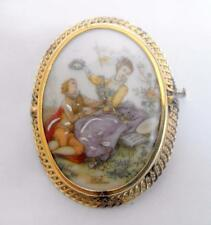 Vintage costume jewellery Limoges portrait pendant brooch or pin 11031