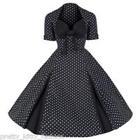 PRETTY KITTY ROCKABILLY 50s BLACK POLKA DOT VINTAGE STYLE SWING PROM DRESS 8-22