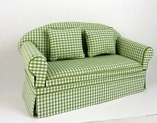 Dollhouse Miniature Ashley Green Check Sofa, Matching Pillows