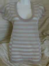 Armani Exchange metallic silver wool cotton fitted top w/ beige stripes Size S