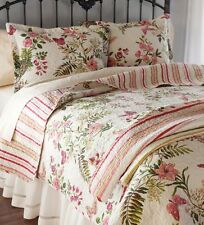 BUTTERFLIES King QUILT SET : BUTTERFLY GARDEN CREAM PINK COTTAGE COMFORTER