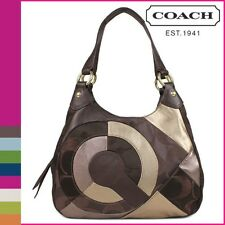Coach 20032 Inlaid Signature Leather Patchwork Hobo Chocolate Brown Gold