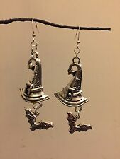 Witches Hat & Bat Halloween Earrings Large Party Witch Fancy Dress Silver Plated