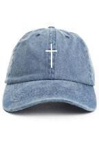 """Cross"" Custom Unstructured Denim Dad Hat Cap Christian Religion New"