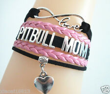 New Infinity Love/PITBULL MOM/Heart Charms Leather braided bracelet-black/pink