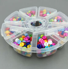 800 pcs Mixed Resin Buttons Sewing 8 grid Transparent Storage Box + 6mm button