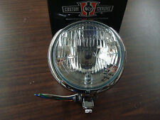 UNIVERSAL CHROME HALOGEN H4 12V 5 1/2 BOTTOM MOUNT HEADLIGHT