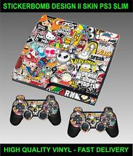 PLAYSTATION 3 SLIM CONSOLE STICKERBOMB VERSION II SKIN GRAPHICS & 2 PAD SKINS