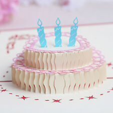 3D Pop Up Card Birthday Cake Candles Happy Birthday Thank You Christmas Postcard