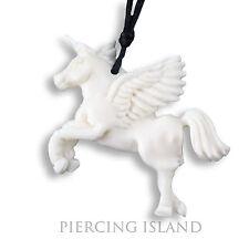 Fliegendes Einhorn Unicorn Amulett Anhänger Kette Bone Horn Knochen PB335