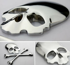 Motorcycle Chrome Metal 3D Skull Bone Gas Tank Fairing Decal Sticker For Harley