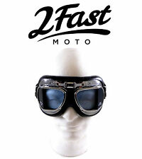 2FastMoto Red Baron Goggles Chrome Frame Cafe Racer Riding CFMoto Vespa Scooter