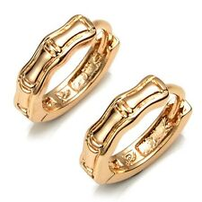 Luxury 18k Yellow Gold Filled Womens Earrings 14mm bone Hoops Fashion Jewelry