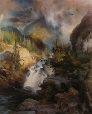 Oil painting Thomas Moran - Children of the Mountain brook cross the mountains