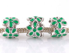 3P silver green flowers LAMPWORK spacer beads Charm fit European Bracelet A#993