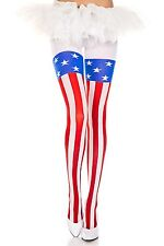 AMERICAN FLAG PRINT OPAQUE Pantyhose 12% SPANDEX Tights PATRIOTIC 70 Denier