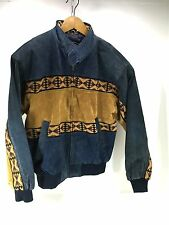 Men's Adler Southwest Western Suede Leather Blue Brown Jacket Sz S