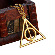 Harry Potter Deathly Hallows Necklace Gold Pendant Gift for Her Gift for Him