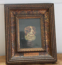 "Antique St. Bernard Oil Painting Vilna 1899 Dog Art Animal  Wood Frame 11""x13"""