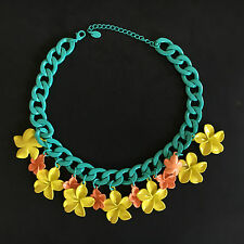 ZARA multicolor flowers chain metal necklace -  choker