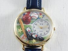 Whimsical Watch Baseball Softball Womens blue leather band new battery USA EUC
