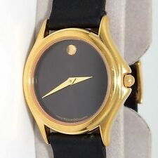 Movado Swiss Museum Women's Watch Black Gold Tone SS Leather 87-E4-0823 w Box Q