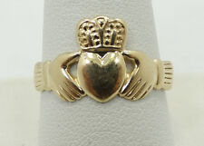 Nice 14K Yellow Gold Irish Claddagh Hand Holding Heart Band Ring B4052