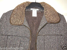 Veste/ Manteau blouson  laine et cuir agneau GEORGES RECH  T 40  ! fourrure