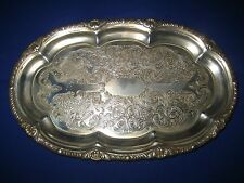 VINTAGE  ENGRAVED METAL  SMALL SERVING TRAY