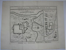 C1750 gravure de province de shanxi Chensi northern china town plans carte