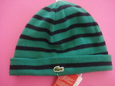 MEN LACOSTE KNIT BEANIE HAT REVERSIBLE GREEN STRIPE ALLIGATOR LOGO NEW WITH TAGS