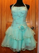 Madeline Gardner Homecoming/Prom Turquoise Crystal Dress Size S
