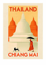 travel vintage thailand chiang mai A2 SIZE PRINT -poster  FOR YOUR FRAME