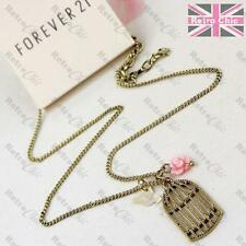BIRD BIRDCAGE CHARM NECKLACE pink rose cab MOP short chain VINTAGE GOLD PLT cage