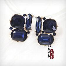 Boucles d`Oreilles Clips Doré Art Déco Carré Bleu Foncé Marine Retro Simple J3