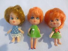 """3 Vintage Gumball Machine Toy dolls 2 1/2"""" tall and 2 3/4"""" tall"""