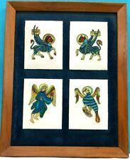 ARTWORK, ENAMEL ON METAL 4 PIECES IN THE WOODEN FRAME & VELVET BACKGROUND