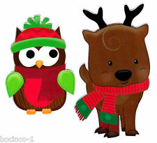 "4.5"" WINTER REINDEER & OWL SET  CHRISTMAS HOLIDAY WINDOW CLING DECAL CUT OUT"